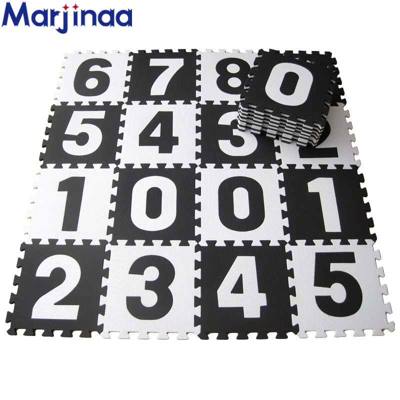 Marjinaa EVA 10pcs/pack Baby And Children Play Floor Mat Environme Numbers/letter Foam Mat Black&White Pad Floor For Baby Blocks