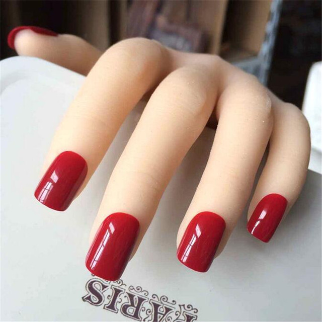 Beautiful Chinese Red False Nails French Pure Color Cute Fake Nails