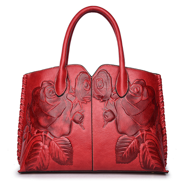 Women Handbag New 2018 Chinese Style Vintage Bags Flower Embossed Shoulder  Bag Large Floral Handbags Shell 4f26e04590597
