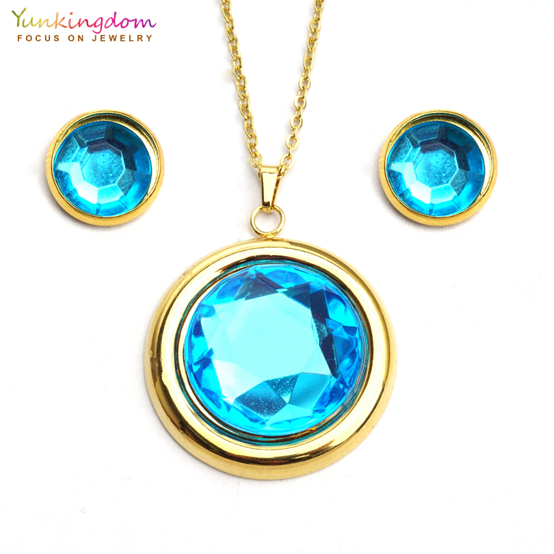 Yunkingdom big round light blue acrylic crystal jewelry sets for women fashion stainless steel pendant necklace earring UE0147
