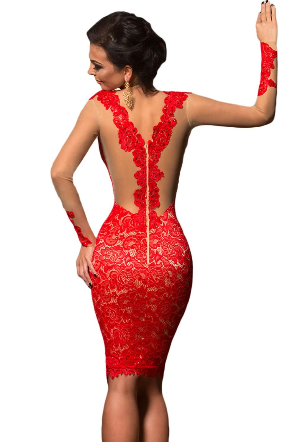 Vintage Rote Spitze Applique Nude Illusion Langarm Kleid 2017 modest ...