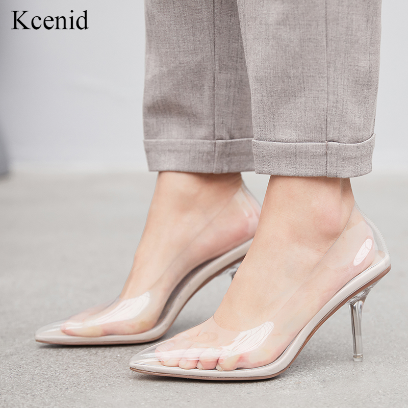 Kcenid Clear PVC Transparent Pumps Slip On Perspex Sexy Heels Shoes Woman Point Toe High Heels Women Party Shoes Pumps Plus Size