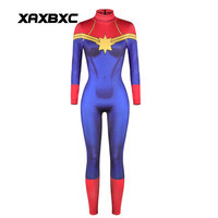 XAXBXC 005 Sexy Girl Bodysuit Halloween Superhero Wonder Woman Cosplay Printed Zipper Elastic Slim Fitness Women