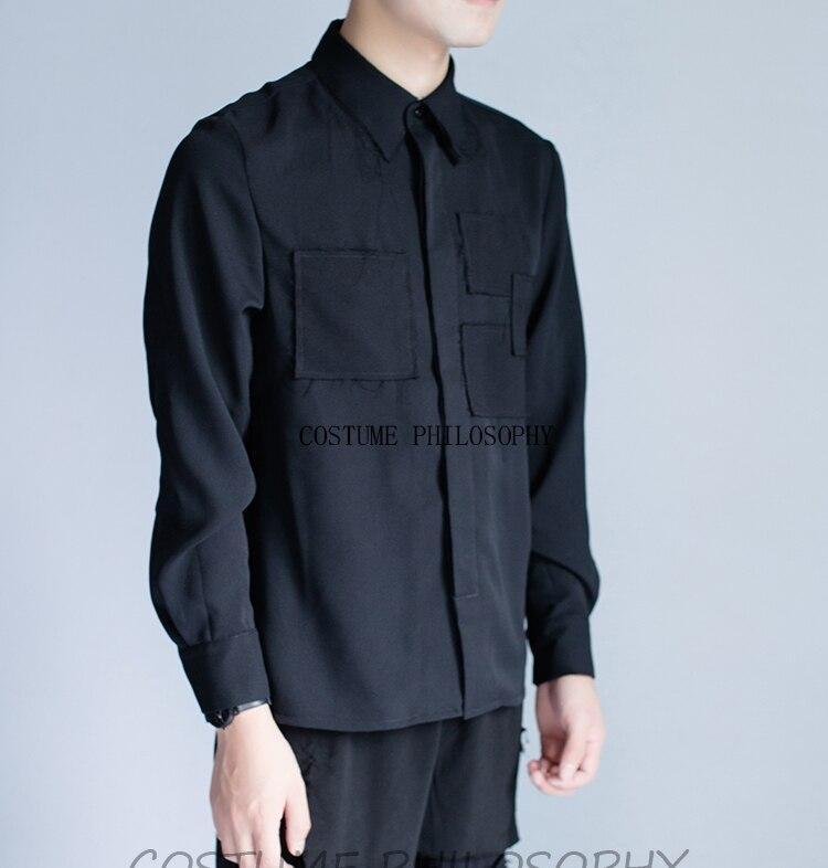 Conception originale de vêtements de piste de personnalité de chemise des hommes garnis de fourrure S-6XL! Grandes chemises pour hommes