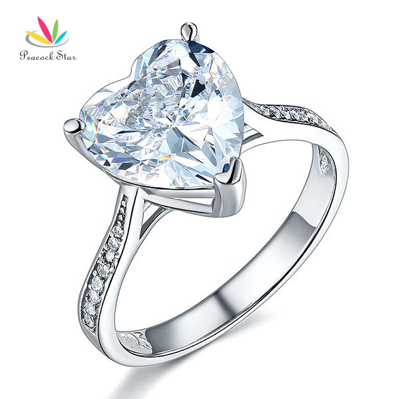 Peacock Star Solid 925 Sterling Silver Wedding Engagement Ring 3.5 Carat Heart Jewelry CFR8215