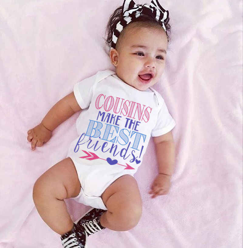 46cd310a8 ... Newborn Baby Boy Girl Matching Outfit Brother Sister T-Shirt Word  Letter Cousins make me ...