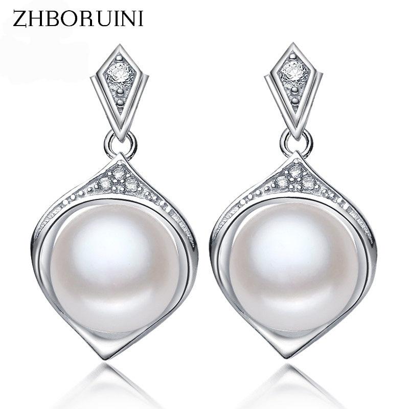 e95ec2dafbe4 Zhboruini 2017 perla Pendientes natural joyas de perlas de agua dulce para  mujeres restaurar maneras antiguas regalo de la joyería de la plata  esterlina 925