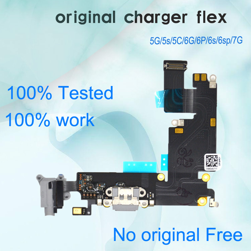 Original Used For IPhone 5 5S 5C 6 6S Plus 7 USB Charger Plug Charging Port  USB Dock Connector Flex Cable Repair Parts