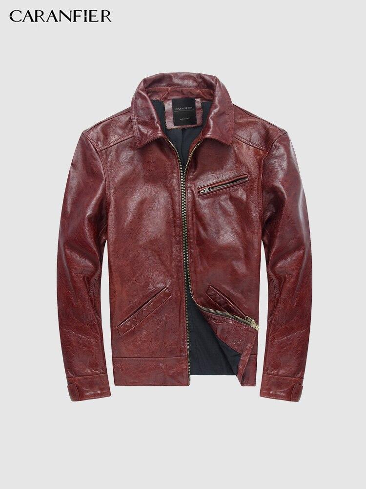 CARANFIER hommes vestes Vintage manteaux à capuche avec fermeture éclair véritable cuir de vachette Punk vêtements d'extérieur de haute qualité moto mâle solide pardessus-in Manteaux en cuir véritable from Vêtements homme    1