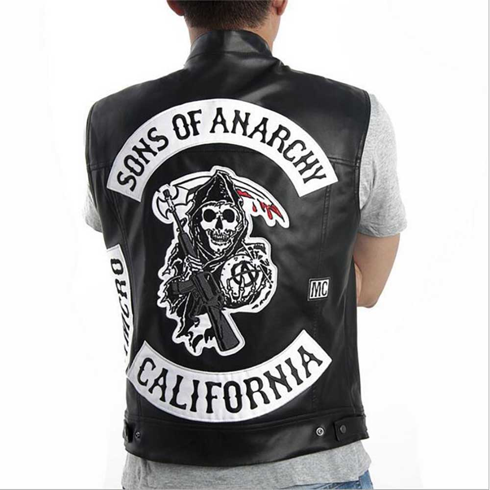 f68733e74 Sons Of Anarchy SOA Jax Teller Men's Black Faux Leather Vest Highway Biker  Vest with Grim Reaper Patch Sleeveless Jacket-in Holidays Costumes from  Novelty ...