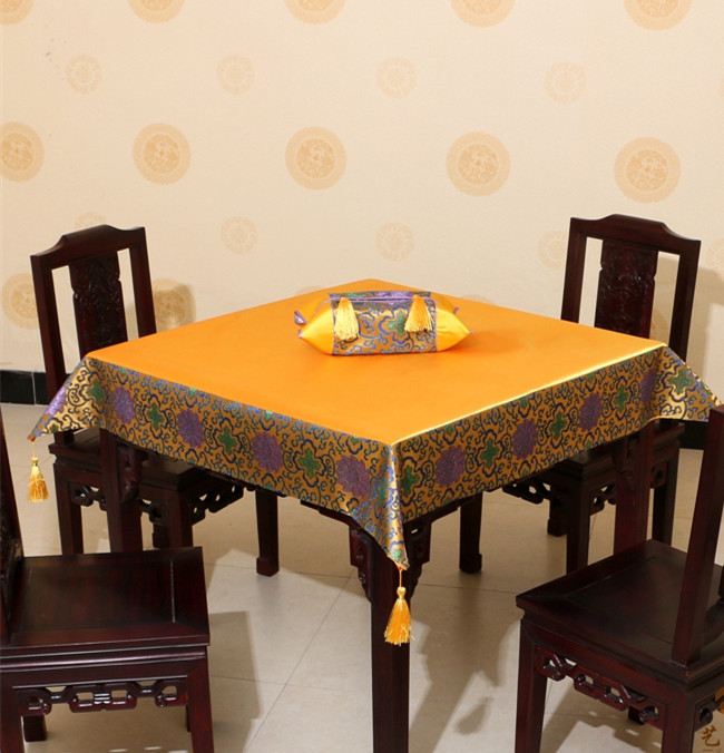 Luxury Plain Patchwork Table Cloth Tassel High End Chinese style Natural GENUINE Silk Br ...