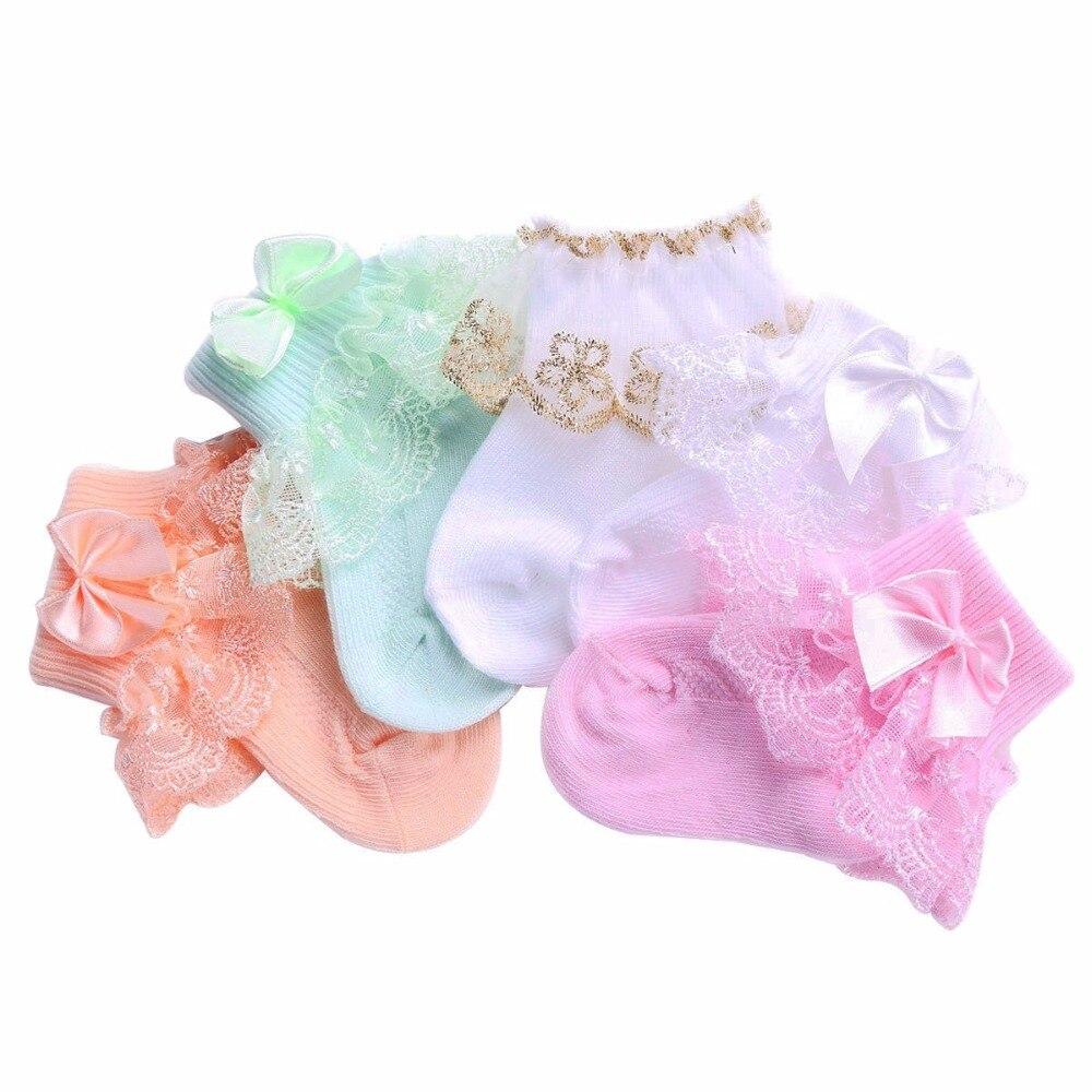 5 Pairs lot Ruffle Lace Newborn Baby Girl Socks Baptism