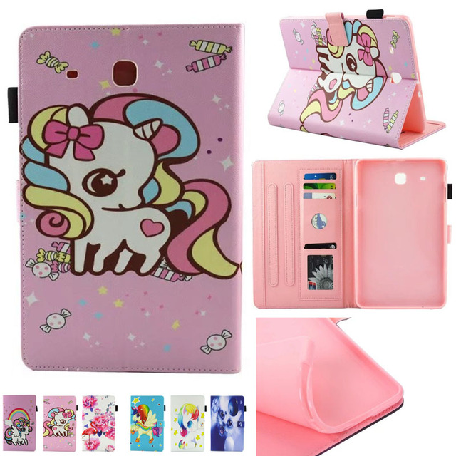 Fashion Cute Unicorn Print Book Folding PU Leather Cover Case for Samsung Galaxy Tab E 9.6 Inch Tablet Cases T560 SM-T561