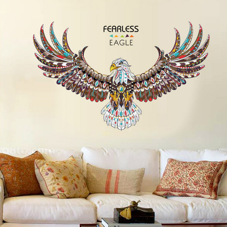 New eagle wings large wall stickers home decor living room for Eagle decorations home