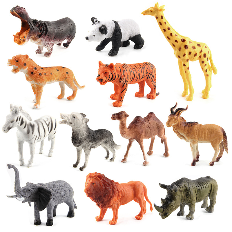 12pcs/Lot PVC Wild Animals Action Figures Set Figurines Kids Toys For Children Simulation Animal Model Toys Brinquedos easyway sea life gray shark great white shark simulation animal model action figures toys educational collection gift for kids