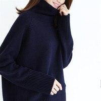 Кашемир полушерстяные водолазка вязать для женщин модные однотонные Свободные толстый пуловер свитер серый 3 вида цветов S XL