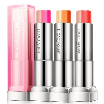 Lasting Three Color Discoloration Labial Matte Lipstick Makeup Lip Balm Moisturizing Cosmetics Tint Lipstick Frosted Lip Gloss.