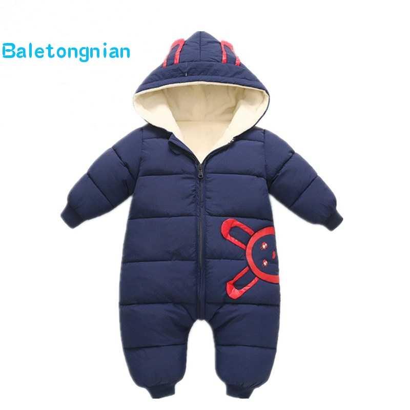 3ca4abd83eb 2018 spring Winter Jumpsuit Baby Newborn snowsuit Snow Wear Coats Boy Warm  Romper 100% down