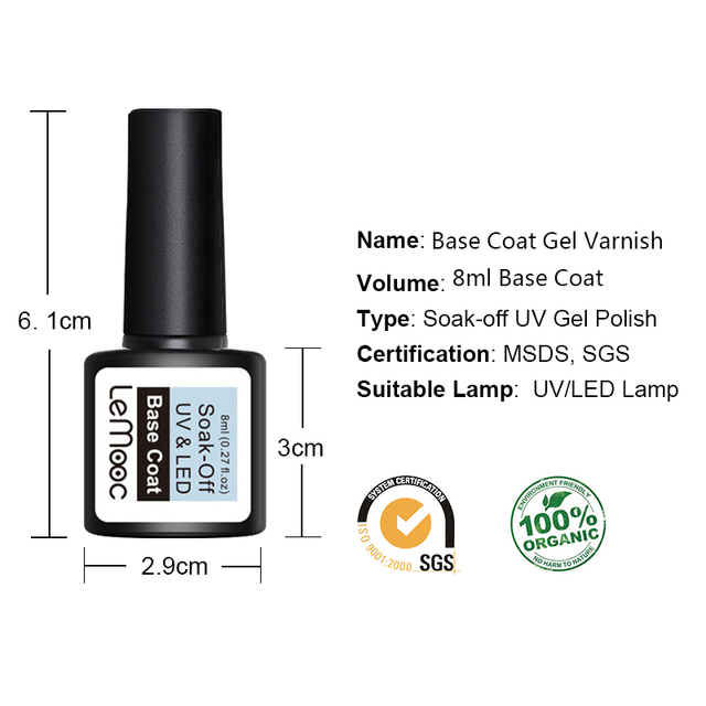 LEMOOC 8ml Top Base Coat Soak Off Nail Gel Foundation For UV LED  Gel Varnish No Wipe Transparent Nail Art varnish 3