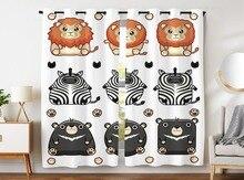 HommomH Curtains (2 Panel) Grommet Top Darkening Blackout Room Cute Tropical Animal Zebra Lion