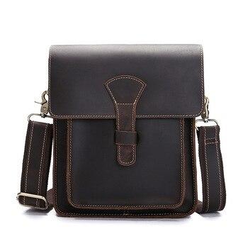 Genuine Leather Male Shoulder Bag Casual Men's Messenger Bag Cowhide Briefcase Fashion Cross body Business Bag IPad Tote Mochila