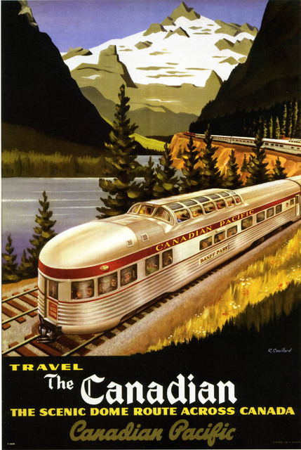 Travel to Canada by Train Map Classic Vintage Retro Kraft Decorative Poster Maps Travel Posters Wall Sticker Decor Gift