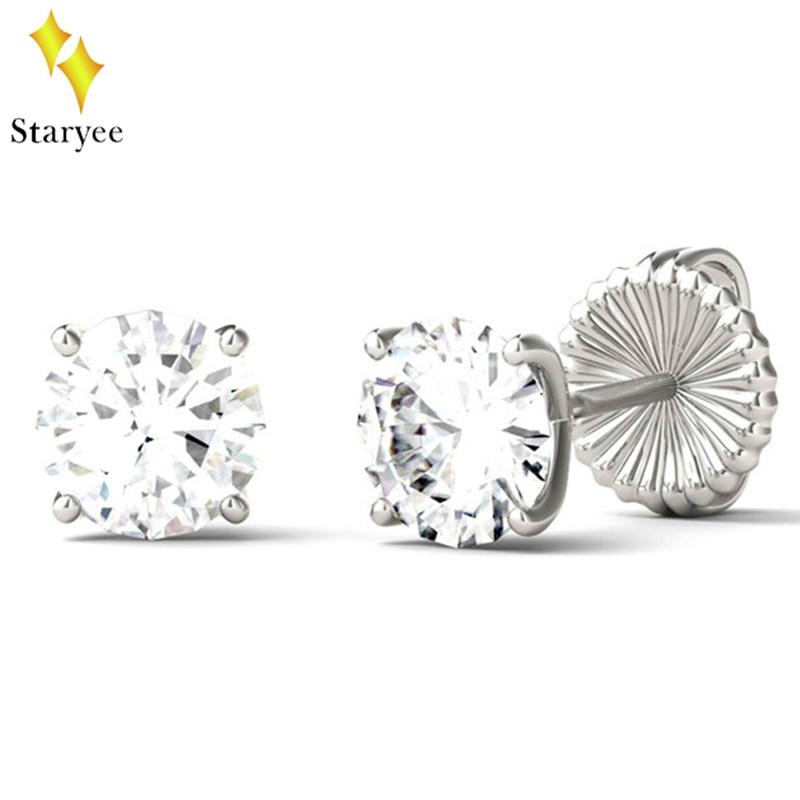 18k Solid White Gold Moissanites Stud Earrings 1CTW Oval Diamond Lab Grown Gem 4-Prong Diamond Stud Earring Fine Jewelry Gift браслет gem miners bb0002 18k 7 65ct