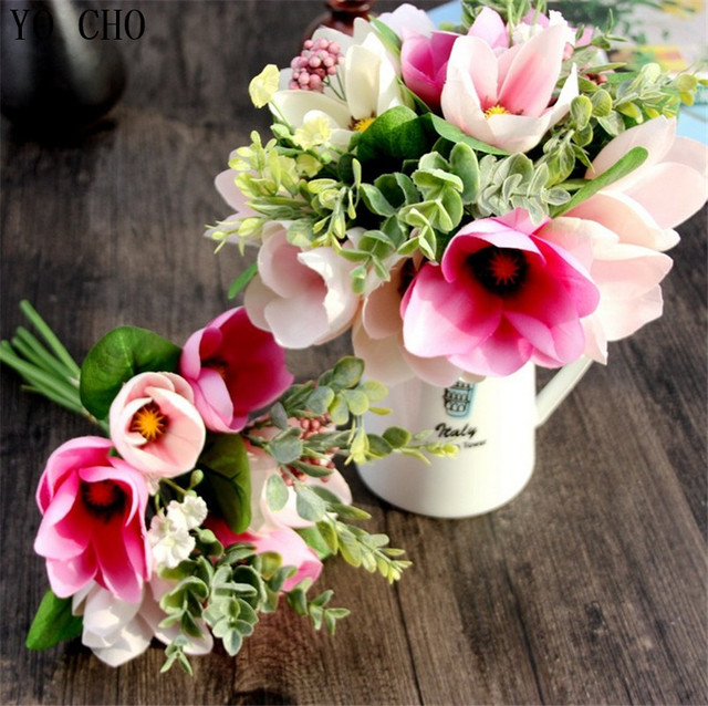 6 Head Decorative Flower Silk Magnolia Artificial Orchid Flower ...
