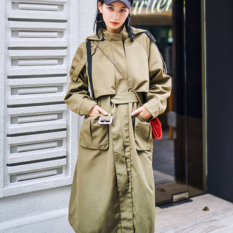 Classic Cargo Series Spring Hooded Windproof Coat Women Army Green   Trench   Coat 2019 New Fashion Women Long Overcoat Loose Fir