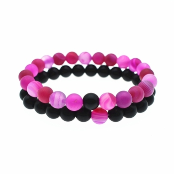 2PC Natural Red Stone Bracelet 8MM Aromatherapy Black Matt black Volcanic Rock DIY Essential Oil Diffuser Bracelet Jewelry image