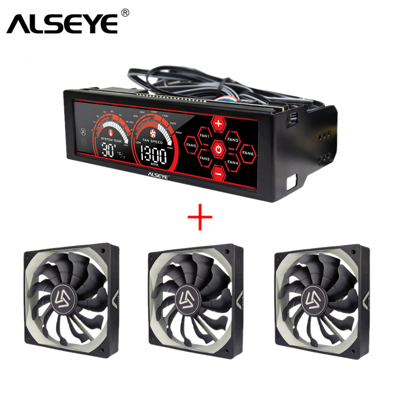 цена ALSEYE Fan Controller and PWM 120mm fan kit 3/4pin 12v 2000RPM radiator for cpu cooler PC cooling fan speed controller