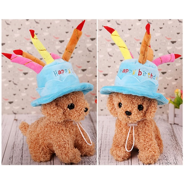 Dog Hat Happy Birthday With Cake Candles Design Pet Party Teddy Poodle Cute Style For Dogs