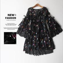 High quality 2017 Women Print Dress Pure Silk The horn sleeve women's V-Neck dress Condole belt lining
