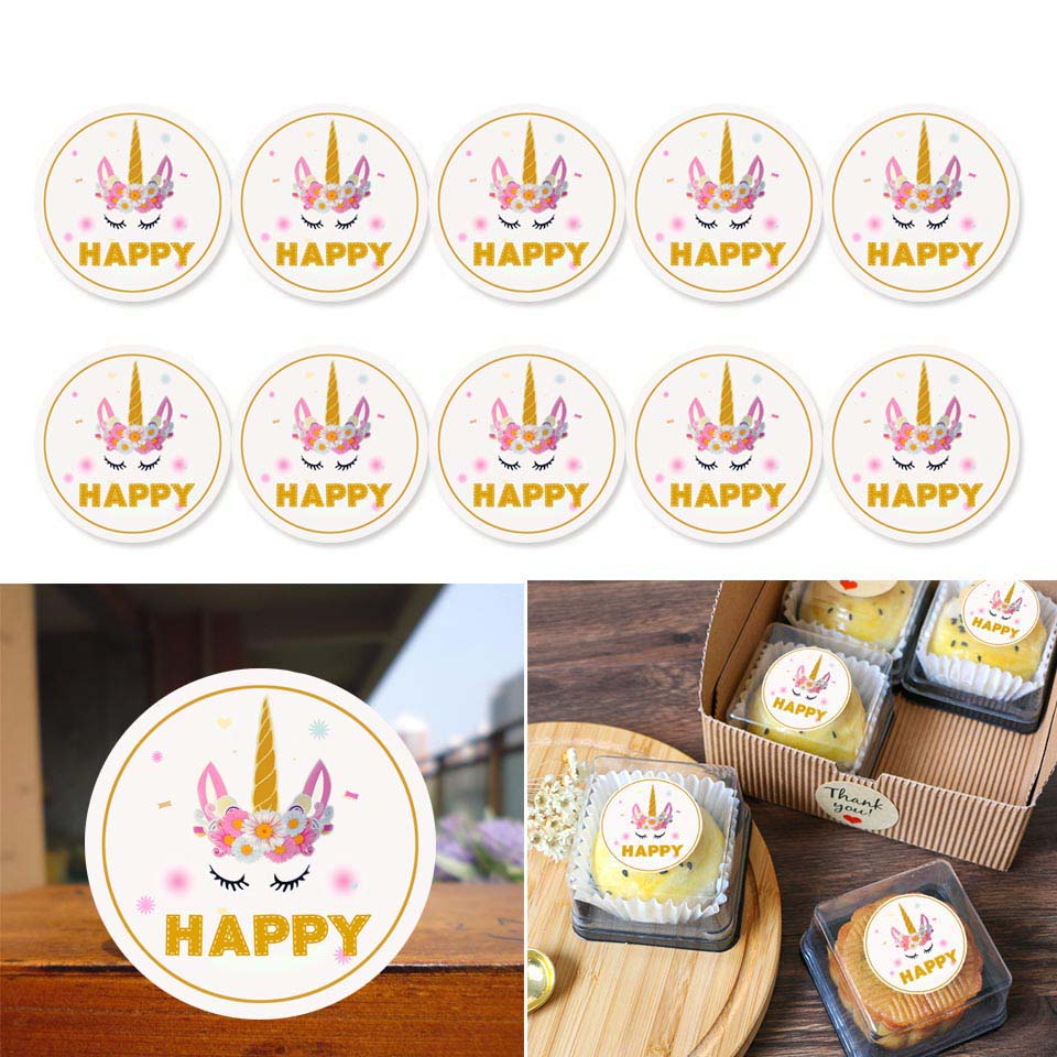 60pcs/lot Unicorn Party Candy Bag Sticker Birthday Decorations Kids Thank you Pink Unicorn Gift Box Seal Stickers Packaging