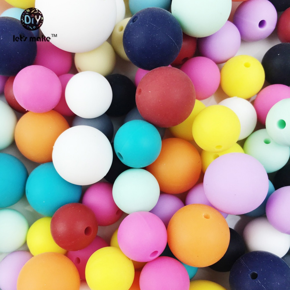 Let's Make baby teether 500pc silicone Beads 12-20mm Round Beads Jewelry Pendants Teether DIY Supplies Nursing silicone teether