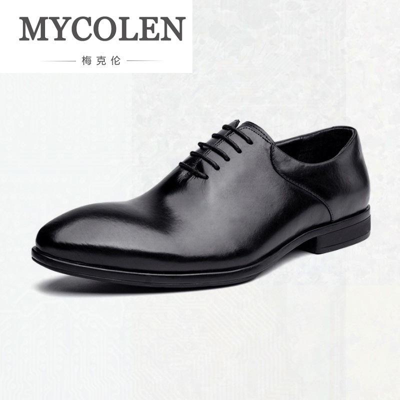 MYCOLEN Formal Shoes Man Pointed Toe Winter Business Shoes Fashion Dress Minimalist Design Shoes Male Lace Up Thick Bottom цены онлайн