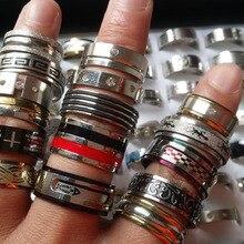50 pçs anéis de aço inoxidável estilos misturados das mulheres dos homens topo moda jóias atacado lote a granel nova marca