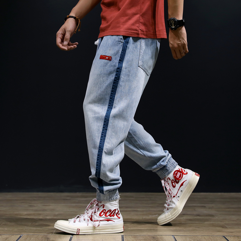 Fashion Streetwear Men Jeans Light Blue Loose Fit Harem Trousers Side Stripe Slack Bottom Cargo Pants Hip Hop Joggers Jeans Men