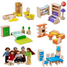 Happy Dollhouse Wooden Toy Set Family Dolls Small Figures Dressed Characters Children Kids Playing Doll Gift Kids Pretend Toys(China)