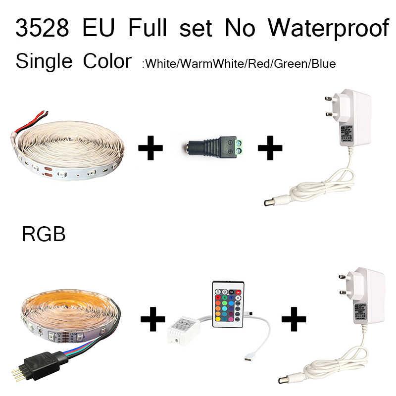 Lampu LED Strip 3528 RGB Tahan Air DC 12 V LED Tape Pita 60LED/M 5 M Neon Pencahayaan Dalam Ruangan remote Controller Uni Eropa Adaptor Set