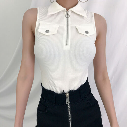 Summer Casual Jumpsuits 2019 New Summer Women  Casual Solid Sleeveless Turn-down Collar Zipper Jumpsuit Size S-L