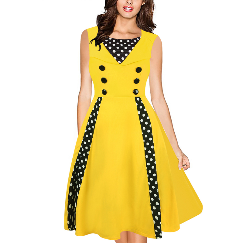 Women Vintage 50s Dress Front Button Yellow Polka Dot Patchwork Bow O Neck Tunic Cocktail Party Sleeveless Pleated A Line Dress