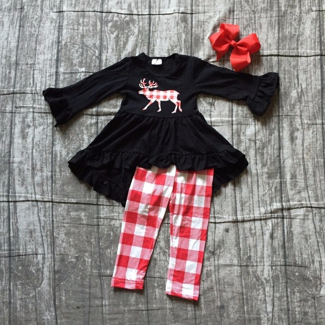 511912a0b baby girls winter OUTFITS girls MOOSE print black dress top wtih plaid long  pants outfits sets girls Christmas clothes with bows
