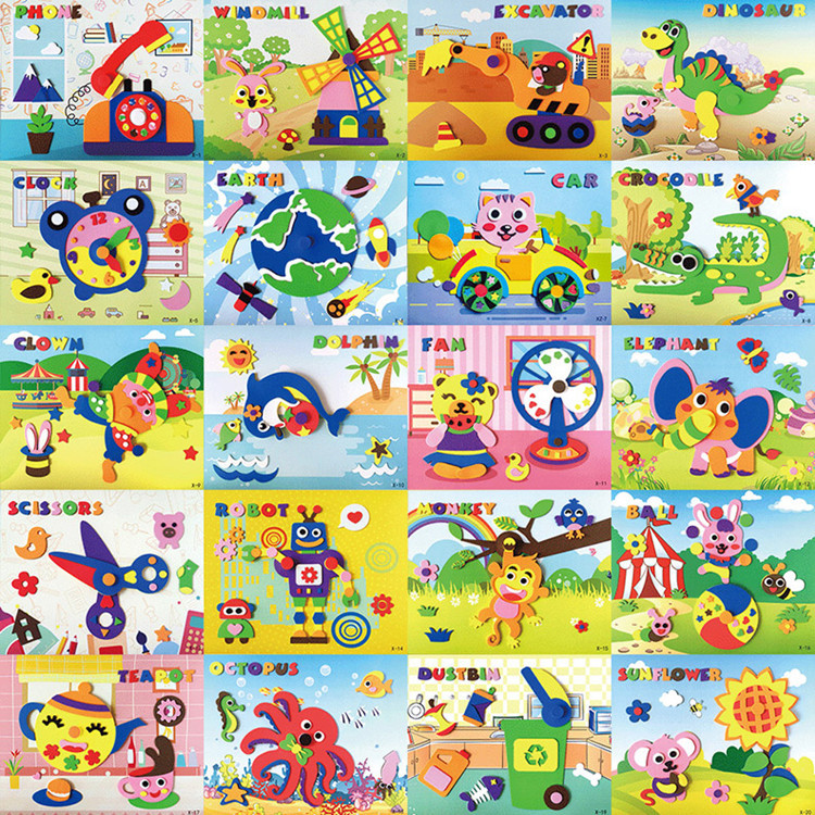 Random Delivery Child Toy EVA DIY Kindergarten Material PackageSponge Large Stickers Can Be Rotated Crafts Kids Craft Kits