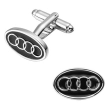 A pair of high quality brass material men's shirts cufflinks black round the audi logo cufflinks wholesale and retail