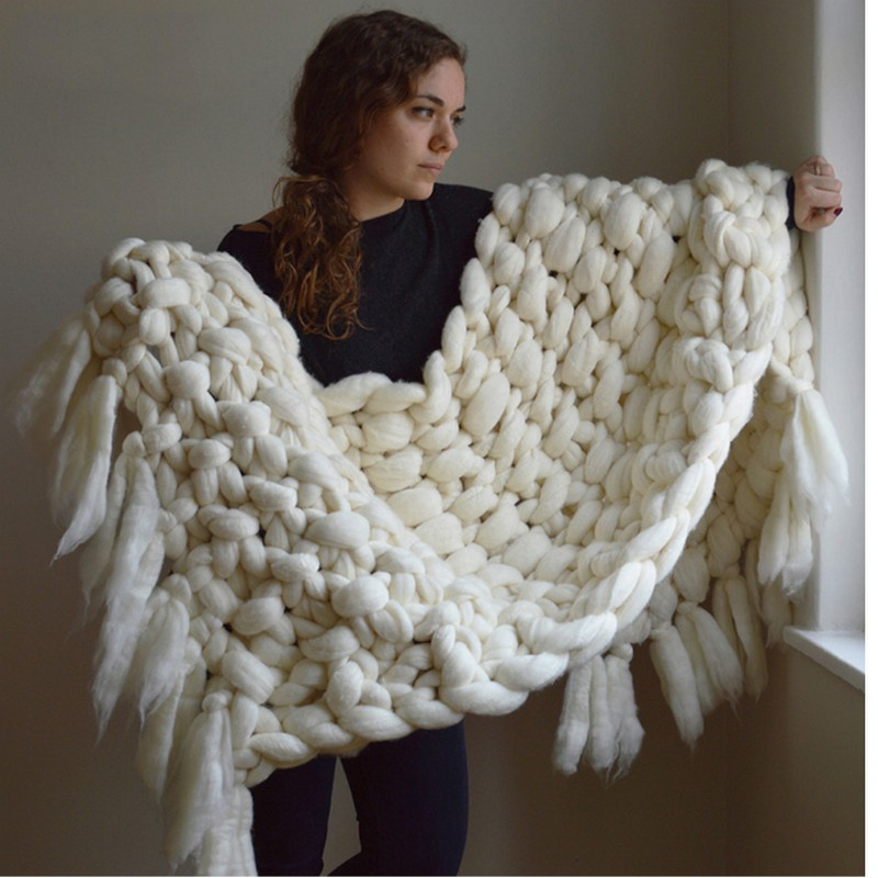 170cm hand Wool Blanket Imitation Tassel Conditioning Merino Wool Knitting Blanket of Super Thick Line Blankets Crochet Blankets купить в Москве 2019