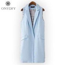 Women Long Vest Coat 2016 New Fashion European Elegant Office Suits Casual Sleeveless Jacket Female Waistcoat Colete Feminino