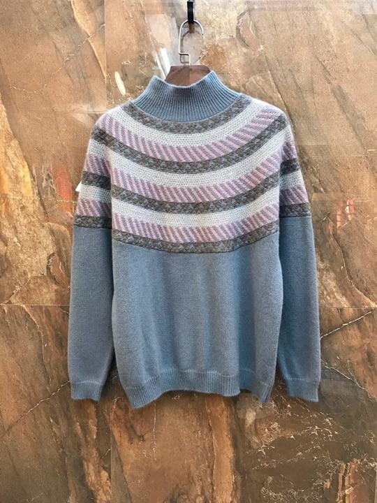 Sweater1129 Baituan kaki Petit Bande Longues gris Décoratif Bleu À Haute Mosaïque Tricoté Manches col 2018 P6vxqaa
