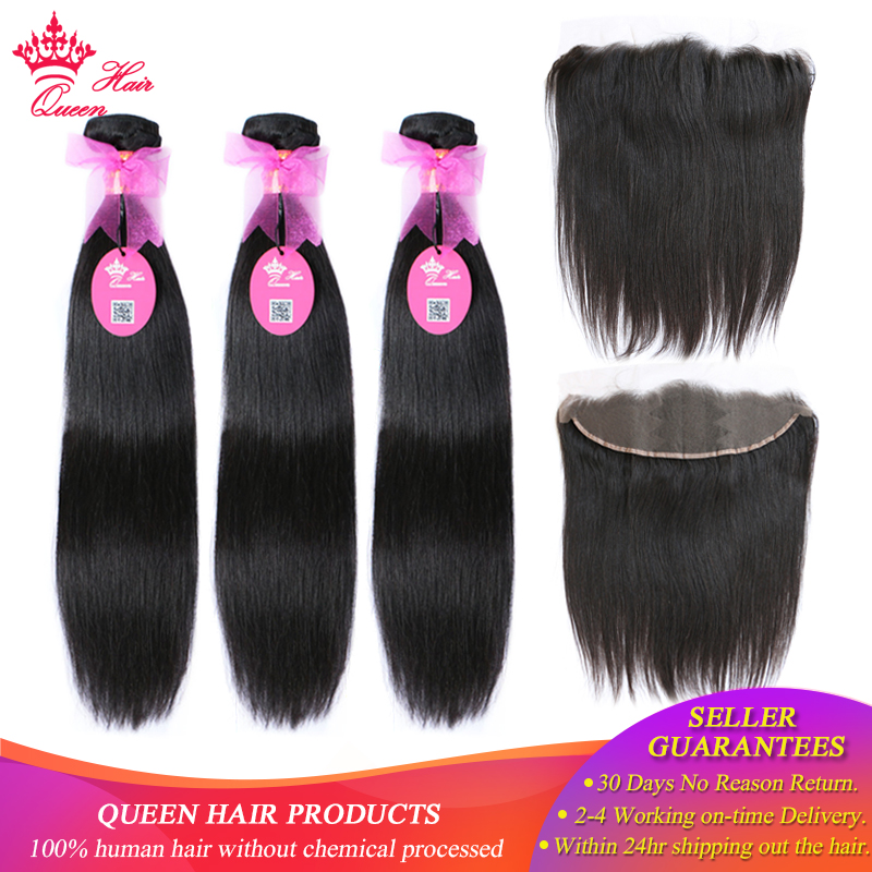 Queen Hair Brazilian Straight Hair Weave 3Bundles With 1 Piece Lace Frontal Closure Virgin Human Hair