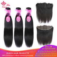 Queen Hair Brazilian Straight Hair Weave 3Bundles With 1 Piece Lace Frontal Closure Virgin Human Hair Bundles Deal Free Shipping